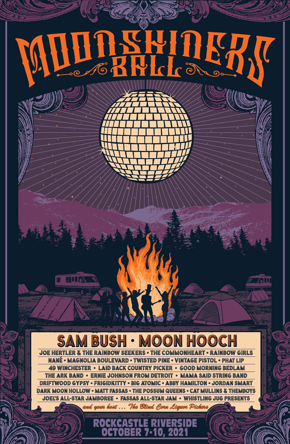 This is the 2021 poster for The Moonshiner's Ball